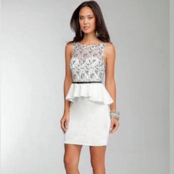 bebe Dresses & Skirts - Bebe Lace Cocktail Dress with Belt NWOT